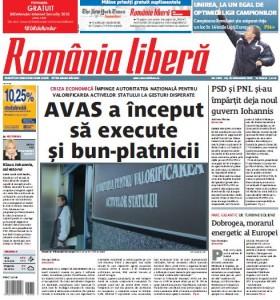 Romania libera, pag 1
