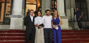 """Corneliu Porumboiu, Diana Avrămuţ şi Bogdan Dumitrache. Domnişoara din dreapta e """"hostessa"""" :) / Foto: sff.ba (c)"""