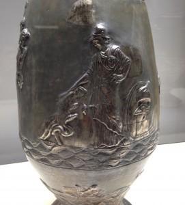 Zeiţa Atena, reprezentată pe un vas de argint masiv descoperit la Tăuteni, judeţul Bihor (datând din a doua jumătate a secolului IV d.Hr.)